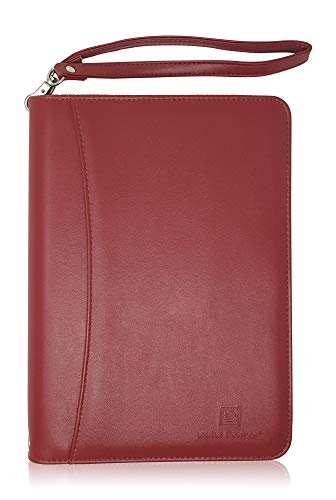 Junior Zippered Business Padfolio with Notepad - Burgundy PU Faux Leather A5 Binder Portfolio & Organizer Folder with Pocket for 8 Inch Tablets by Lautus Designs