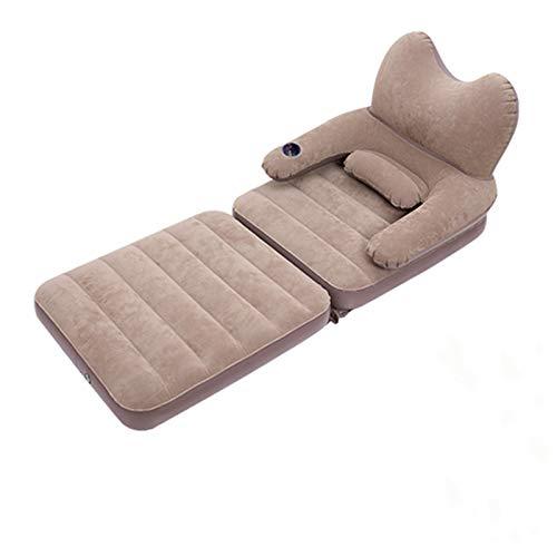 N / C Cama de una Sola Silla, Material Flocado y de PVC, tamaño Grande, diseño Ajustable de Superficie Lisa, inflador de presión Manual, cómodo Respaldo Suave