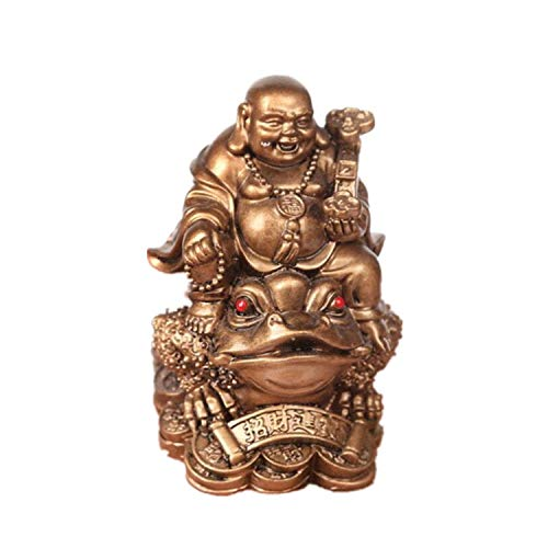 YODOOLTLY Feng Shui Laughing Buddha, Wealth Laughing Buddha Sit on Money Frog Statue Lucky Toad Car Ornaments Home Office Decoration (Bronze)