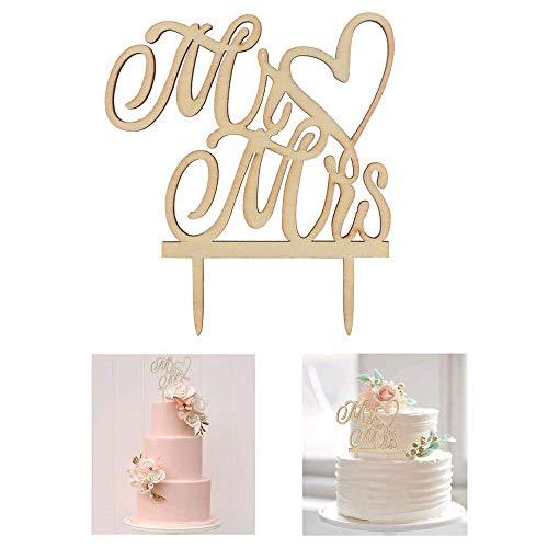 AILANDA Cake Topper Hochzeit Tortentopper Hochzeitstorte Topper Holz Tortenstecker Mr Mrs Kuchendeckel Tortendeko Hochzeit für Wedding Verlobung Jahrestag