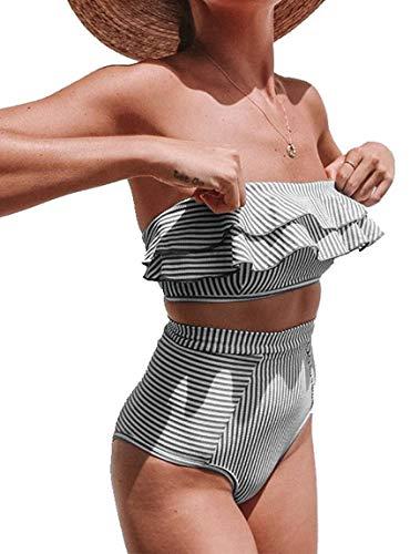 JFAN Conjunto de Dos Piezas de Traje de Baño A Rayas de Cintura Alta Volantes para Mujer Traje de Baño Cintura Alta sin Tirantes de Corte Alto