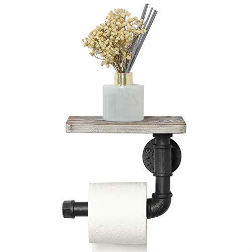 OROPY Toillettenpapierhalter mit Regal, Industrielle Klopapierrollenhalter an der Wand, Vintage Badezimmer-Accessoire, Rustikales Weiß