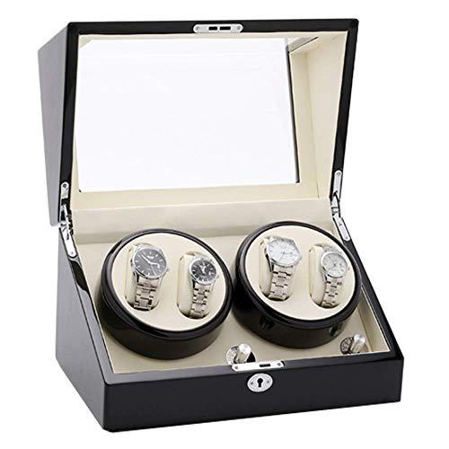 Uhrenbeweger aus Holz für Automatikuhren mit weichem, flexiblem Kissen, passend für Ladiand Herrenuhren Schmuckkollektion (Farbe: Schwarz, Größe: Einheitsgröße) HLSJ, schwarz