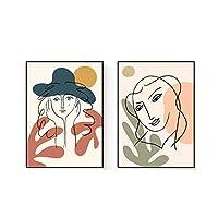 スカンジナビア抽象女の子ライン顔絵画インテリア植物葉ポスターミニマリスト壁アートパネル写真北欧キャンバスプリントリビング部屋装飾40x60cmx2いいえフレーム
