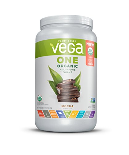 Vega One Organic All-In-One Shake, Mocha (18 Servings, 25 Ounce) - Plant Based Vegan Protein Powder with Vitamins, Minerals, Antioxidants, No Dairy, No Gluten, Non GMO, Brown, Large Tub
