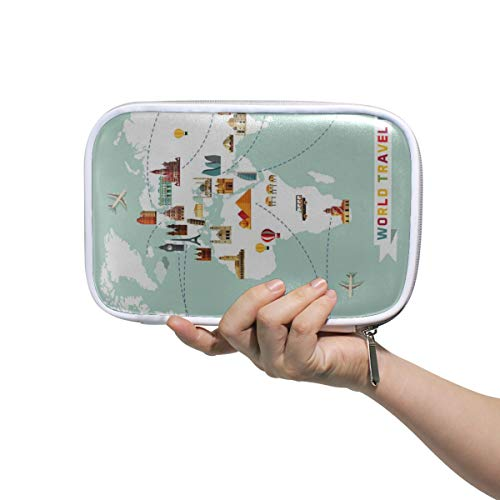 Men Cosmetic Bag Printed Cartoon World Map Decor Icon Cosmetic Travel Bags Beauty Bags For Girls Multifunctional Funny Pencil Case For Men Women