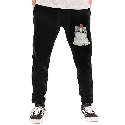 Hello Kitty Herren Jogginghose mit elastischer Taille und Bündchen Gr. 36-41, Schwarz