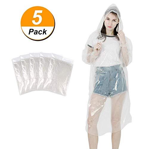 Zophen Tragbarer Einweg Regenponcho mit Kapuze Transparent Regenbekleidung Regenjacke Wandern Camping Angeln (5 Stück)