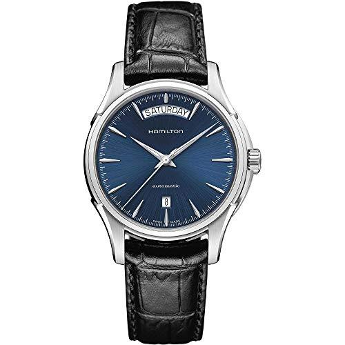 Hamilton Jazzmaster Day Date / orologio uomo / quadrante blu / cassa acciaio / cinturino pelle nera