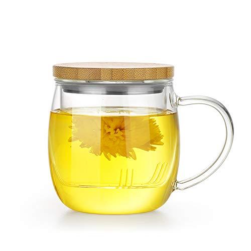 Samadoyo taza de té de cristal de borosilicato de alta calidad con de calidad alimentaria sus # 304infusor filtro, té taza para café de té o té bolsa, resistente al calor, 500ml, LFGB Test.