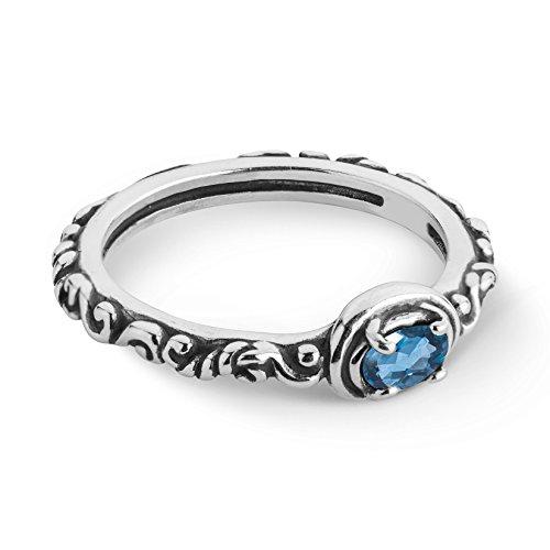 Carolyn Pollack Sterling Silver Blue Topaz Gemstone December Birthstone Single Oval Stone Ring Size 6