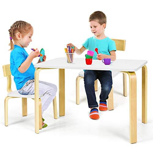 Giantex - Set Tavolo e 2 sedie per Bambini in Legno, Tavolo da Gioco per Bambini 3-12 Anni per Casa Asilo e Aule, Struttura Robusta,Facile da Pulire, Bianco/Rosa/Verde (Bianco)