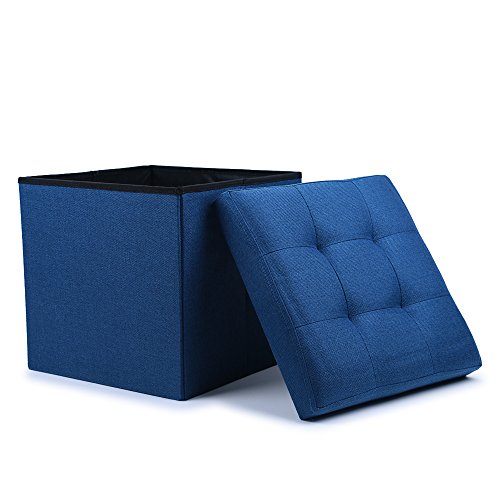 WoneNice Folding Storage Ottoman Cube Foot Rest Stool Seat (Linen Navy)