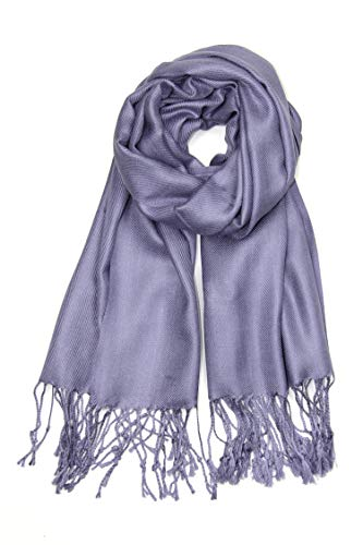 Achillea Soft Silky Solid Pashmina Shawl Wrap Scarf for Wedding Bridesmaid Evening Dress (Lavender Grey)