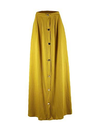 Hioinieiy Pleated A-Line Maxi Skirt for Women Ladies Juniors Teens Button Down Cute Floor Length Long Skirts Khaki S