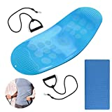 JUSTDOLIFE Balance Boards Yoga Board Fitness Board Twist Boards with Resistance Bands in Blue for Stability Training Twisting Exercise Abs Arms Legs Balance for Men and Women (Blue)