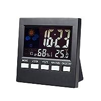 気象監視時計ホームデジタルLCDスクリーン屋内天気予報目覚まし時計デスクタイマーカレンダー温度湿度監視時計気象監視時計