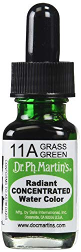 Dr. Ph. Martin's Radiant Concentrated Water Color (11A) Watercolor Bottle, 0.5 oz, Grass Green, 1 Bottle