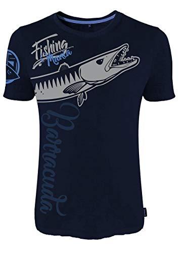 HOTSPOT DESIGN Fishing Mania Barracuda, Azul, Camiseta, para Pescadores de mar
