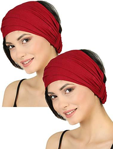 Deresina Headwear Fascia Elastica Elasticizzata, Fascia per Capelli per la Perdita dei Capelli (Burgundy)
