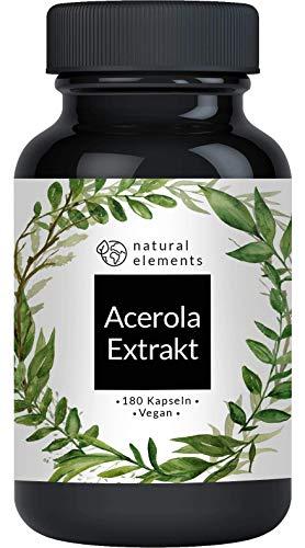 Acerola Kapseln - Natürliches Vitamin C - 180 vegane Kapseln für 6 Monate - Laborgeprüft, ohne unerwünschte Zusätze
