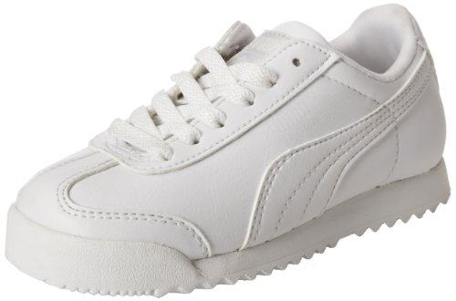 PUMA unisex child Roma Basic Sneaker, White/Light Gray, 8 Toddler US