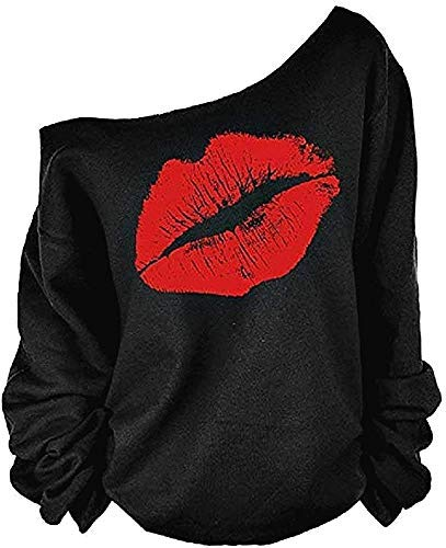 Lovelegis Sudadera para mujer con diseño de boca, camiseta de labios, beso, chica, cuello de barco, manga larga, sexy Negro XL