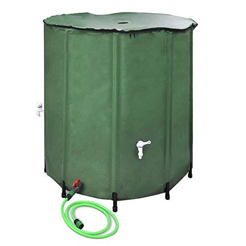 Zerone- Réservoir d'eau de Pluie, Conteneur de Pluie Pliable avec Robinet et Bâche en PVC, Capacité de 500 L