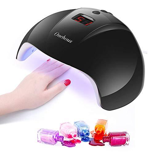 UV Nagellampe,UV Lampe für Gelnägel,12 LED 24W Nageltrockner für Alle Nagellacke mit 30s/60s/90s Timer Einstellung, Infrarot Sensor, USB Aufladen mit LCD Display (Schwarz)