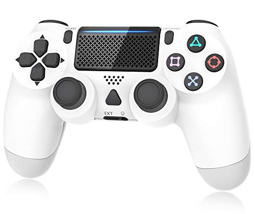 Controller for Plays 4, Y Team Controller for PS4/ Pro/Slim, Game Controller Joystick with Vibration Function, Headset Jack, 6-axis Gyro Sensor/1000mAh Battery(White)