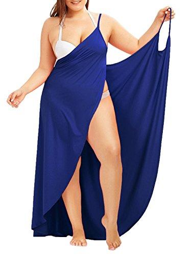WEIMOB Pareo Cache Maillot de Bain Femme Sexy Cover Up Bikini Sarong Robe de Plage Bretelle Amincissante Col en V Portable Sechage Grande Taille Bleu ,48(4XL)