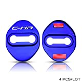 HXKGG Acero Inoxidable Espesado Cubierta de Cerradura de Puerta automática.para Toyota C-HR CHRJDM Prius Verso Yaris Avensis Accesorios Logo Case Car Styling Emblems Azul