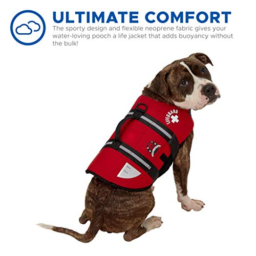 Paws Aboard Dog Life Jacket, Neoprene Dog Life Vest for Swimming and Boating - Red