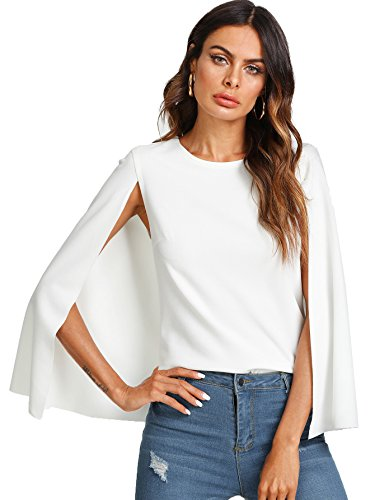 Romwe Women's Elegant Cape Cloak Sleeve Round Neck Party Top Blouse White Large