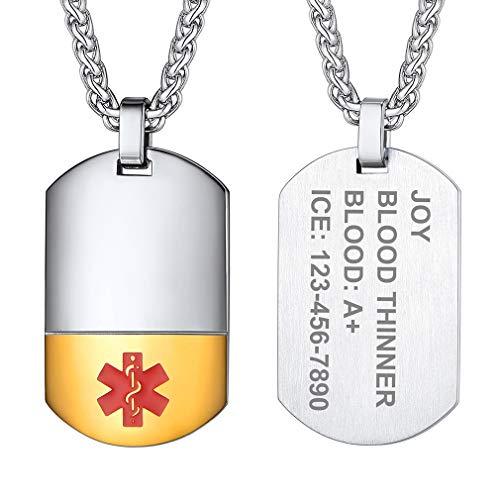 Supcare Tabla Militar Dos Tonos Cadena Trigo Cable Acero Inoxidable Cruz Roja Collar Dorado Médica para Emergencia Niños Ancianos Enfermos Buen Regalo a Abuelos