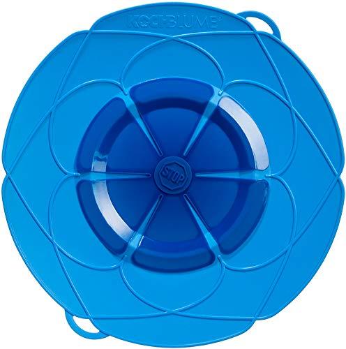 Kochblume vom Erfinder Armin Harecker XL 33 cm blau | Überkochschutz für Topfgrößen von Ø 20 bis 28 cm | Set mit Microfasertuch!