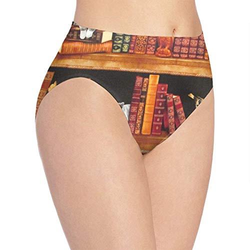 Unterwäsche Damen Unterwäsche Katzen Bücher Regale Coole Bikini Brief Hipster Unterhose,