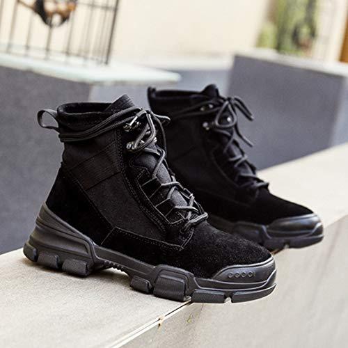 Shukun enkellaarsjes Martin Boots Women'S Boots High Tube herfst en winter plat mat hoog om zwarte laarzen kinderen te helpen
