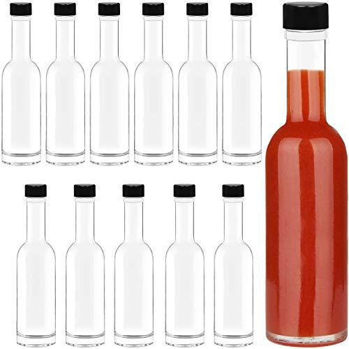 BELLE VOUS Mini Botellas Alcohol, Salsa (Pack de 12) Botellas de Licor Miniatura 150 ml Vidrio con Tapa Negra y Rosca para Salsa Picante, Aceites y Aderezos Botellines Cristal para Fiestas y Bodas