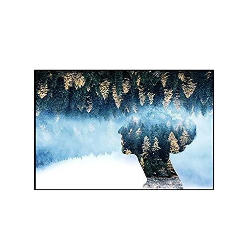 FANBUHUA Cuadros Abstractos de Arte de Pared, impresión, Bosque Verde, árbol Dorado, Carteles e Impresiones, Figura, Pintura, Lienzo, decoración escandinava para el hogar (40x60cm) sin Marco