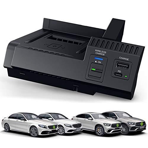 Cargador de Coche inalámbrico para Mercedes C-Class GLC AMG C/GLC 2014-2021, Cargador de teléfono de Carga rápida de 15 W con 1 * USB A + 1 * 18W Tipo C para iPhone, Galaxy, Huawei, Xiaomi