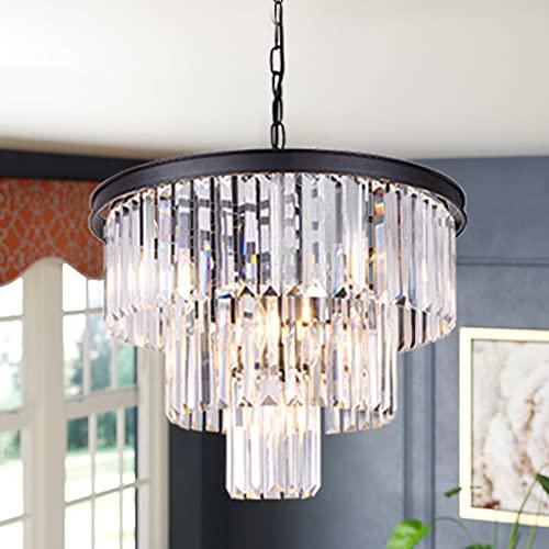 Wellmet 7-Light 3-Tier Black Modern Crystal Chandelier Contemporary Hanging Pendant Ceiling Light Fixture