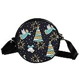 Árbol de Navidad ángeles bolsa diagonal redonda Crossbody cartera, bolso de hombro de moda círculo cruzado bolso de hombro Mini lona Inclinado bolso de hombro
