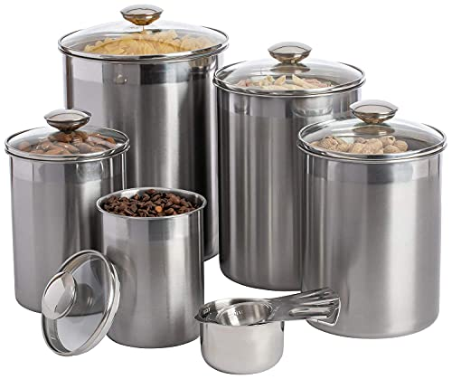 SilverOnyx Stainless Steel Canisters With Glass Lids