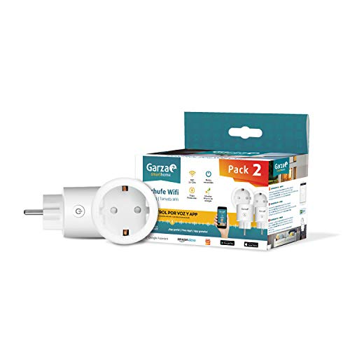 Garza ® Smarthome - Pack 2 Enchufe wifi inteligente programable compatible con Alexa y Google Home. Enchufe temporizador por control remoto con app iOS/Android.