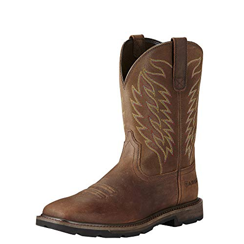 Ariat Men's Groundbreaker Square Toe Work Boot, Brown, 10.5 2E US
