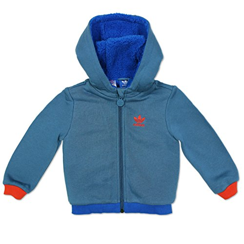 adidas Originals Baby/Kinder Teddy Jacke Kuscheljacke Sweatjacke Hoodie BLAU, Farbe:Blau, Größe:62
