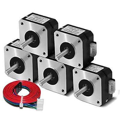 Usongshine Nema 17 Stepper Motor Bipolar Step Motor for Titan Extruder 3D Printer 4.1V 1A 13Ncm (18.4oz.in) 4 Lead 1.8 Deg with 1m Cable (17HS4023 Pack of 5)