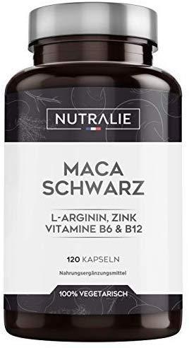 Maca Schwarz aus Peru entspricht 24.000 mg für jede Dosis von 1200 mg, mit L-Arginin, Zink und den Vitaminen B6 & B12   120 Pflanzliche Kapseln mit hochkonzentriertem Maca-Extrakt 20:1   Nutralie