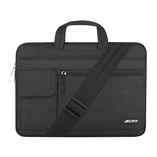 MOSISO Laptop Shoulder Bag Compatible with MacBook Pro 16 inch A2141 2020 2019/Pro Retina 15 A1398, 15-15.6 inch Notebook, Polyester Flapover Briefcase Sleeve Case, Black